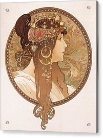 Byzantine Head Of A Brunette Acrylic Print by Alphonse Marie Mucha