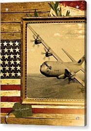C-130 Hercules Rustic Flag Acrylic Print by Reggie Saunders