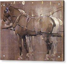 Cab Horses By Gaslight  Acrylic Print by Joseph Crawhall