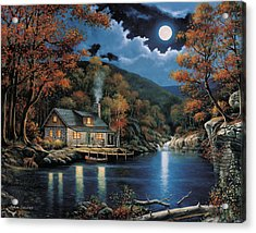 Cabin By The Lake Acrylic Print by John Zaccheo