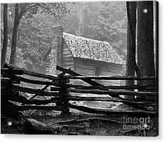 Cabin In The Fog Acrylic Print by Julie Dant