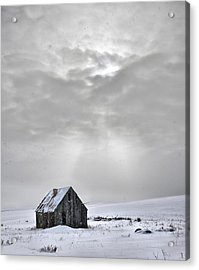Cabin In Winter Acrylic Print by Leland D Howard
