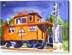 Caboose With Silver Signal Acrylic Print by Kip DeVore