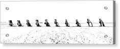 Cadillac Ranch Whiteout 001 Bw Acrylic Print by Lance Vaughn