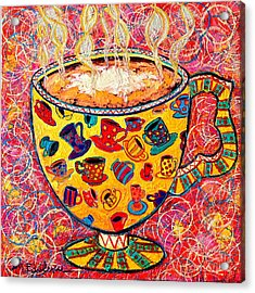 Cafe Latte - Coffee Cup With Colorful Coffee Cups Some Pink And Bubbles  Acrylic Print by Ana Maria Edulescu