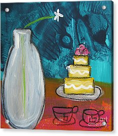 Cake And Tea For Two Acrylic Print by Linda Woods