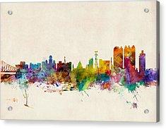 Calcutta India Skyline Acrylic Print by Michael Tompsett