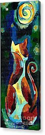 Calico Cat Abstract In Moonlight Acrylic Print by Genevieve Esson