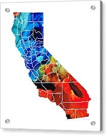 California - Map Counties By Sharon Cummings Acrylic Print by Sharon Cummings