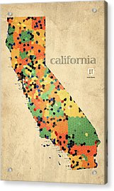 California Map Crystalized Counties On Worn Canvas By Design Turnpike Acrylic Print by Design Turnpike