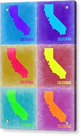 California Pop Art Map 2 Acrylic Print by Naxart Studio