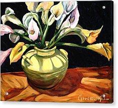 Callas - Floral Art By Betty Cummings Acrylic Print by Sharon Cummings