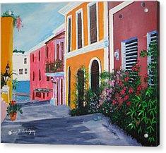 Callejon En El Viejo San Juan Acrylic Print by Luis F Rodriguez