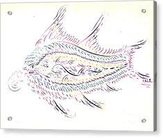 Calligraphic Fish 1845 Acrylic Print by Padre Art