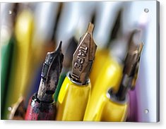 Calligraphy Pens Acrylic Print by Mountain Dreams