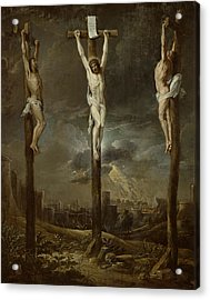 Calvary Oil On Card Acrylic Print by David the Younger Teniers