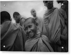 Cambodian Novice Smiles Acrylic Print by David Longstreath