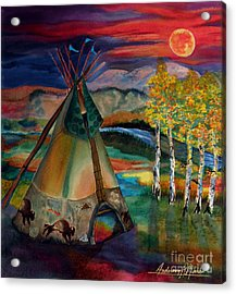 Camp Of The Hunting Moon Acrylic Print by Anderson R Moore
