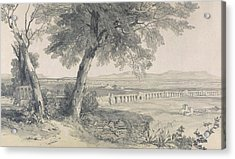 Campagna Of Rome From Villa Mattei Acrylic Print by Edward Lear