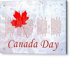 Canada Day .. The Maple Leaf Forever Acrylic Print by The Creative Minds Art and Photography