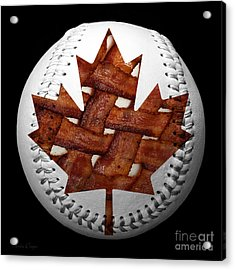 Canadian Bacon Lovers Baseball Square Acrylic Print by Andee Design