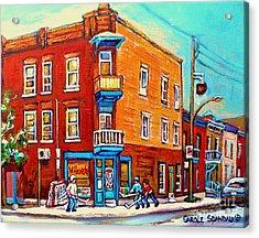 Canadian Paintings Hockey Art Montreal Memories Home Team Advantage Wilenskys Diner Carole Spandau Acrylic Print by Carole Spandau