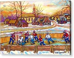 Canadian Village Scene Hockey Game Quebec Winter Landscape Outdoor Hockey Carole Spandau Acrylic Print by Carole Spandau