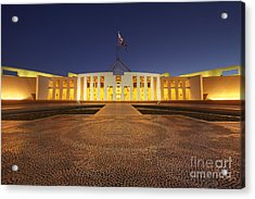 Canberra Australia Parliament House Twilight Acrylic Print by Colin and Linda McKie