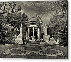 Cancer Survivors Plaza Black And White Acrylic Print by Joshua House