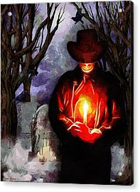 Candle Light At The Graveyard Acrylic Print by Tyler Robbins