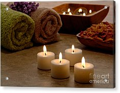 Candles In A Spa Acrylic Print by Olivier Le Queinec