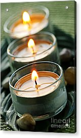 Candles On Green Acrylic Print by Elena Elisseeva