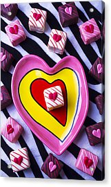 Candy Dish And Hearts Acrylic Print by Garry Gay