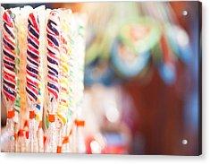 Candy Sticks At German Christmas Market Acrylic Print by Susan Schmitz