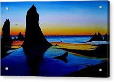 Cannon Beach At Sunset 15 Acrylic Print by Portland Art Creations