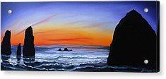 Cannon Beach At Sunset 16 Acrylic Print by Portland Art Creations