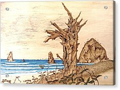 Cannon Beach In October Acrylic Print by Roger Storey