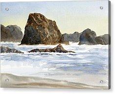 Cannon Beach Rocks With Waves Acrylic Print by Sharon Freeman