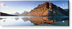 Canoe At The Lakeside, Bow Lake, Banff Acrylic Print by Panoramic Images