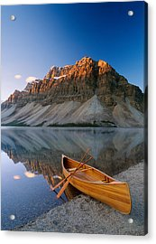 Canoe At The Lakeside, Bow Lake Acrylic Print by Panoramic Images
