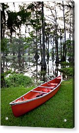Canoe By Caddo Lake, Texas's Largest Acrylic Print by Larry Ditto
