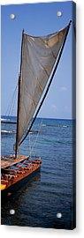 Canoe In The Sea, Honolulu, Puuhonua O Acrylic Print by Panoramic Images