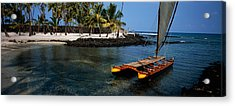 Canoe In The Sea, Honolulu,puuhonua O Acrylic Print by Panoramic Images