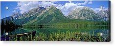 Canoe Leigh Lake Grand Teton National Acrylic Print by Panoramic Images