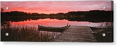 Canoe Tied To Dock On A Small Lake Acrylic Print by Panoramic Images