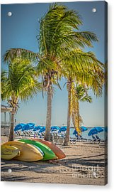 Canoes And Palms - Higgs Beach Key West - Hdr Style Acrylic Print by Ian Monk