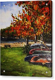 Canoes By The Lake Acrylic Print by Andrea Flint Lapins
