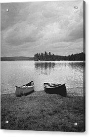 Canoes - Canisbay Lake - B N W Acrylic Print by Richard Andrews