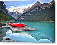 Canoes Of Lake Louise Alberta Canada Acrylic Print by George Oze