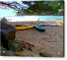 Canoes Wait At A Pacific Sunset Acrylic Print by ARTography by Pamela Smale Williams